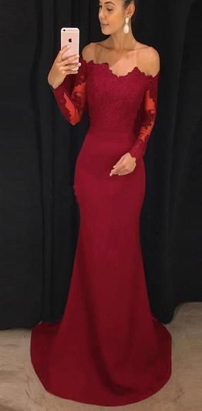 Red Appliques Mermaid Evening Dress, Long Sleeve Prom Dresses for Wedding