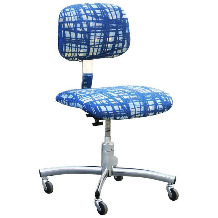 Prime Vintage Chrome Steelcase Task Chair With Abstract Fabric In Download Free Architecture Designs Embacsunscenecom