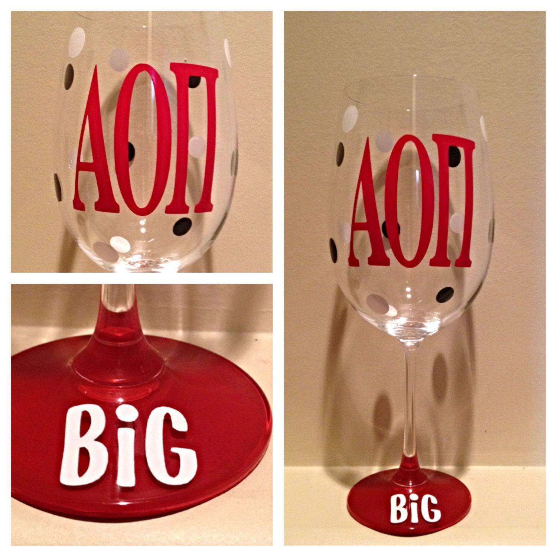Alpha Omicron Pi Aoii Personalized Wine Glass By Glassygurlz Personalized Wine Glass Custom Wine Glass Sorority Wine Glass