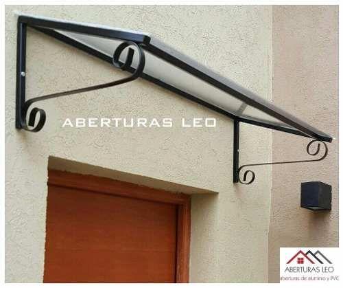 Alero hierro y policarbonato para puertas ventanas 100 x for Ventanas para techos planos argentina