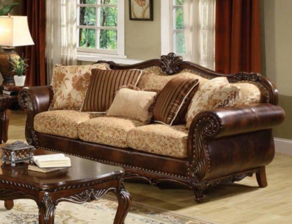 Acme Furniture   Remington Bonded Leather And Fabric Sofa   50155