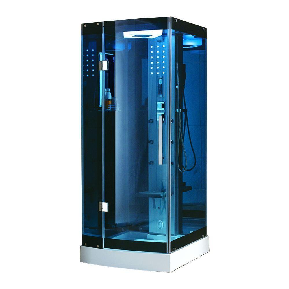 Ariel 48 in. x 36 in. x 85 in. Steam Shower Enclosure Kit in Blue ...