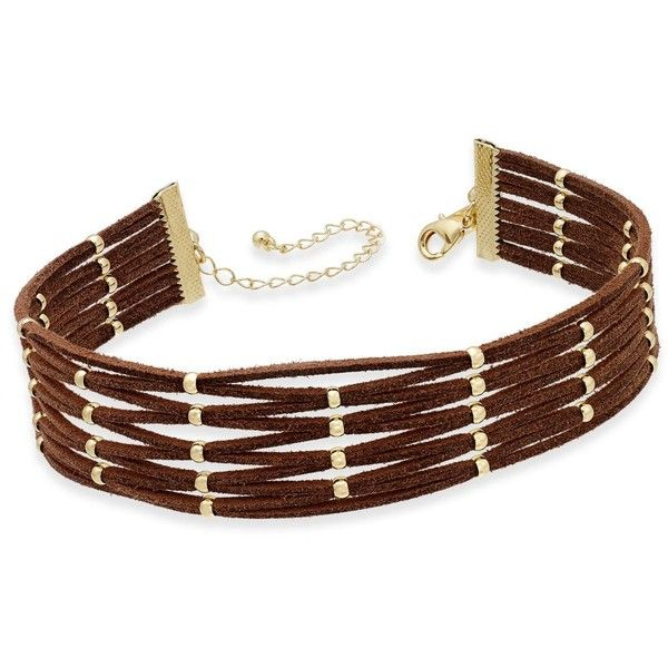 Inc International Concepts Gold-Tone Brown Faux Suede Beaded Choker... ($18) ❤ liked on Polyvore featuring jewelry, necklaces, brown, brown jewelry, brown necklace, beaded jewelry, beaded choker and beaded necklaces