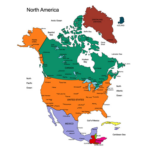 North America Regional Printable Pdf And Powerpoint Map Usa Canada Mexico Greenland Iceland Cities Greenland North America Powerpoint