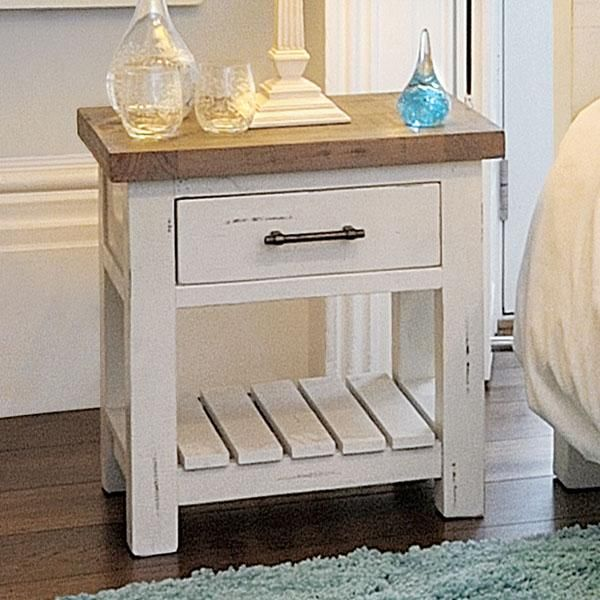 Dorset White Reclaimed Wood Bedside Table