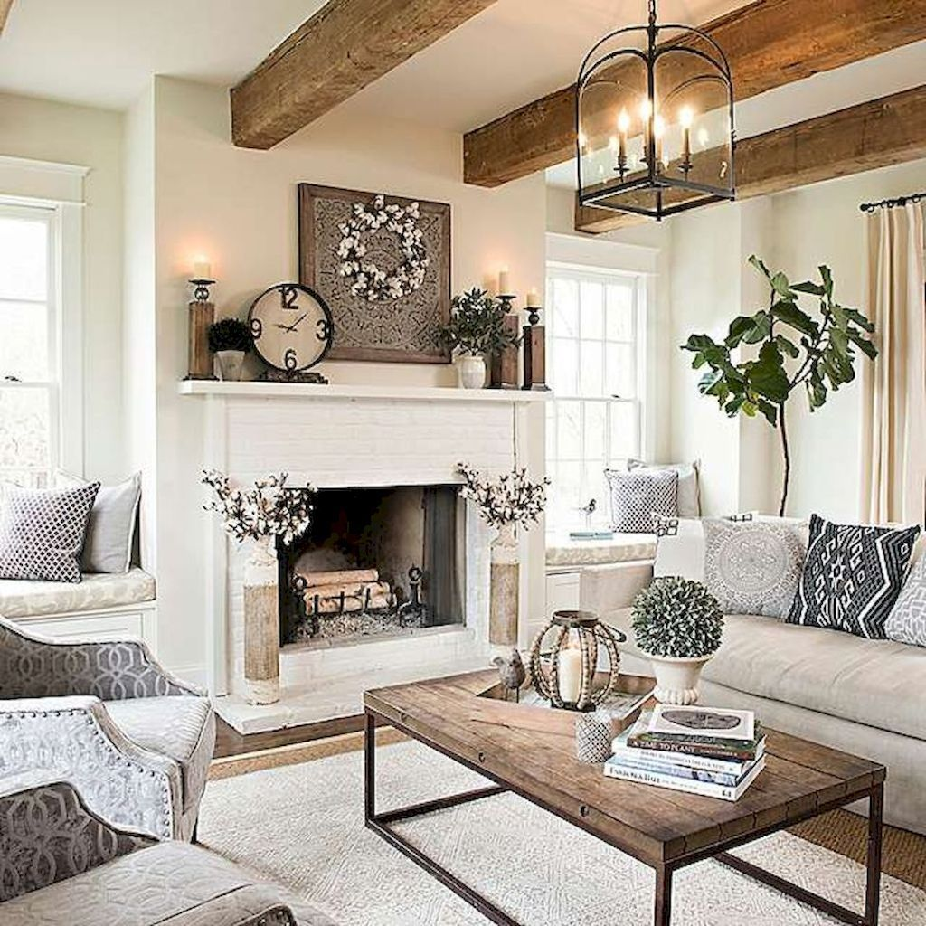 Cozy farmhouse living room decor ideas (53 Perapian