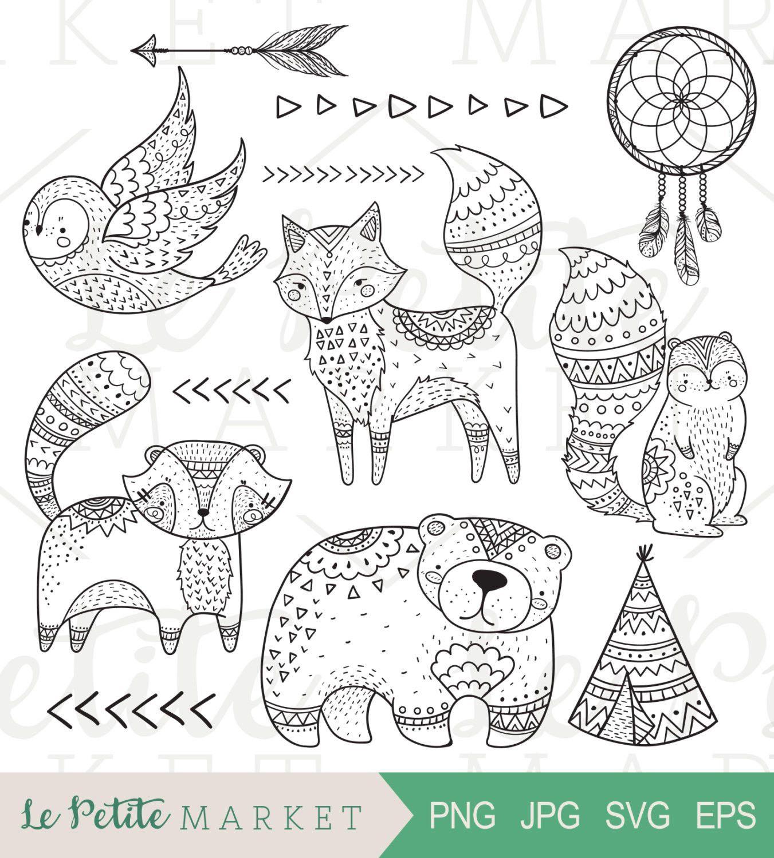 Doodle Tribal Woodland Clip Art Tribal Animal Clip Art Etsy Tribal Fox Animal Doodles Tribal Animals