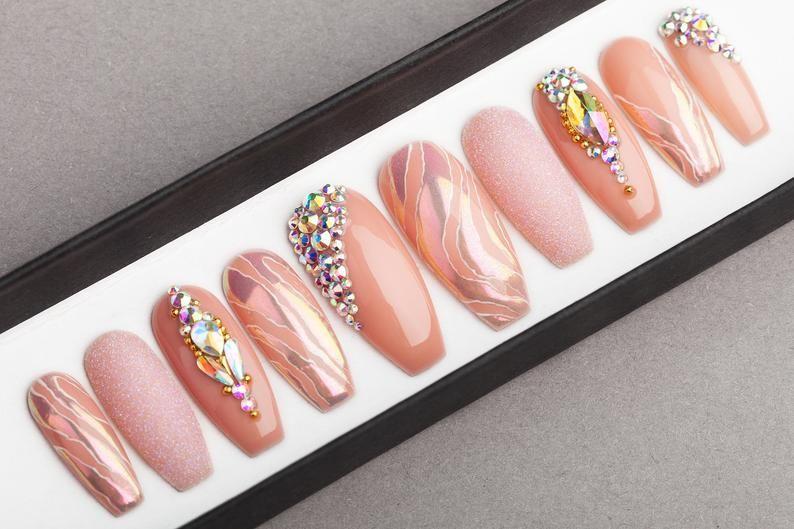 Pearl Beige Press on Nails  Fake Nails  False Nails  Glue | Etsy