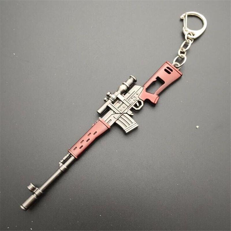 PLAYERUNKNOWNS BATTLEGROUNDS PUBG AKW AWM MK14 Gun Model KeyChain