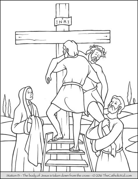 Stations of the Cross Coloring Pages 13 - The body of Jesus is taken ...