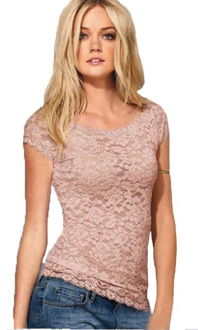 6fcf72b7770 Lady Women Sheer Sexy Full Floral Lace Top Short Sleeve T-shirt Crew Neck  Blouse at Amazon Women s Clothing store  14