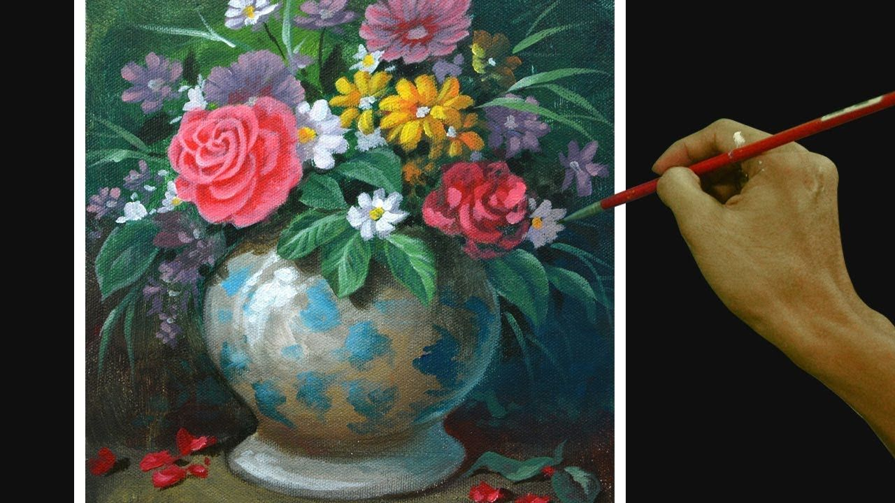 Acrylic Painting Tutorial Still Life With Flowers On Flower Vase