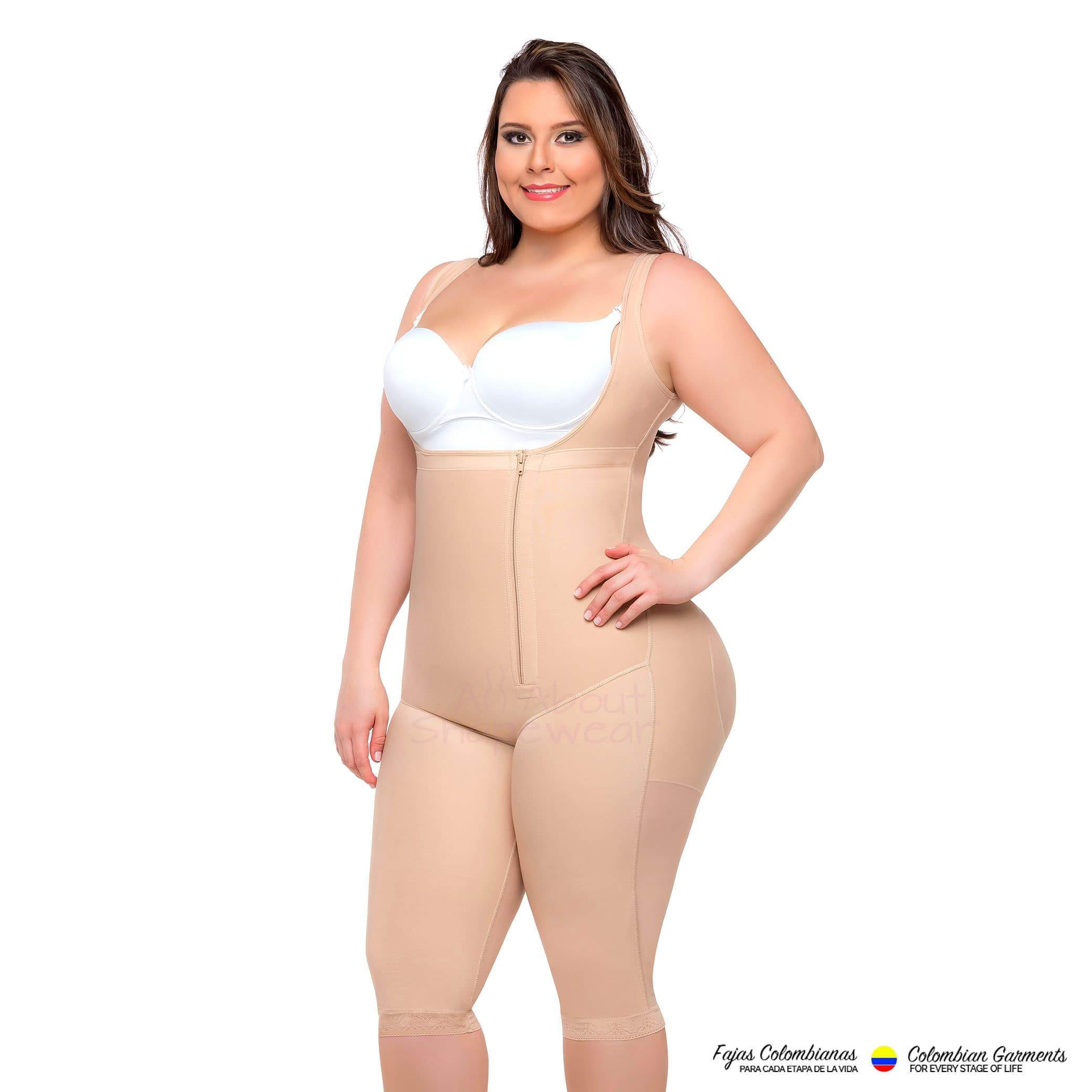 3d22f7364 Fajas Colombianas Full Body Girdle Knee Length Style With Back Coverage 050