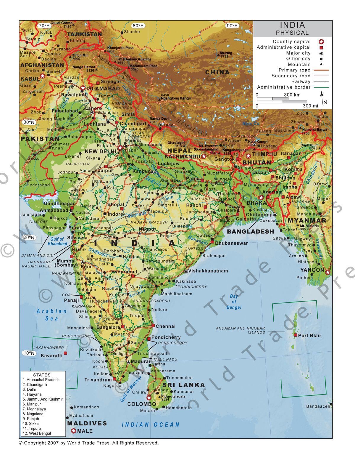 Physical Map of India rrrrrrr Pinterest India Sea level and