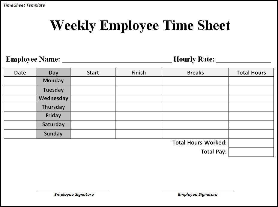 word timesheet template free