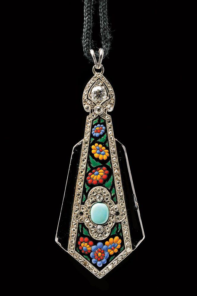 Art Deco Enamel, Diamond, and Gem-set Lorgnette, Boucheron, Paris