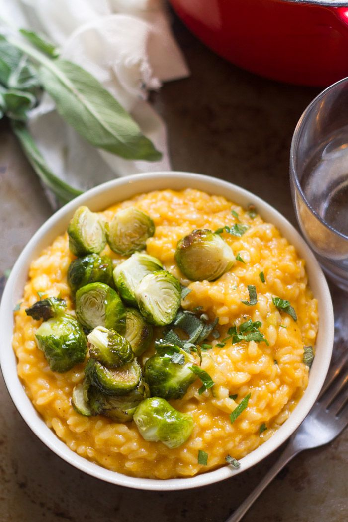 Butternut Squash Risotto With Roasted Brussels Sprouts