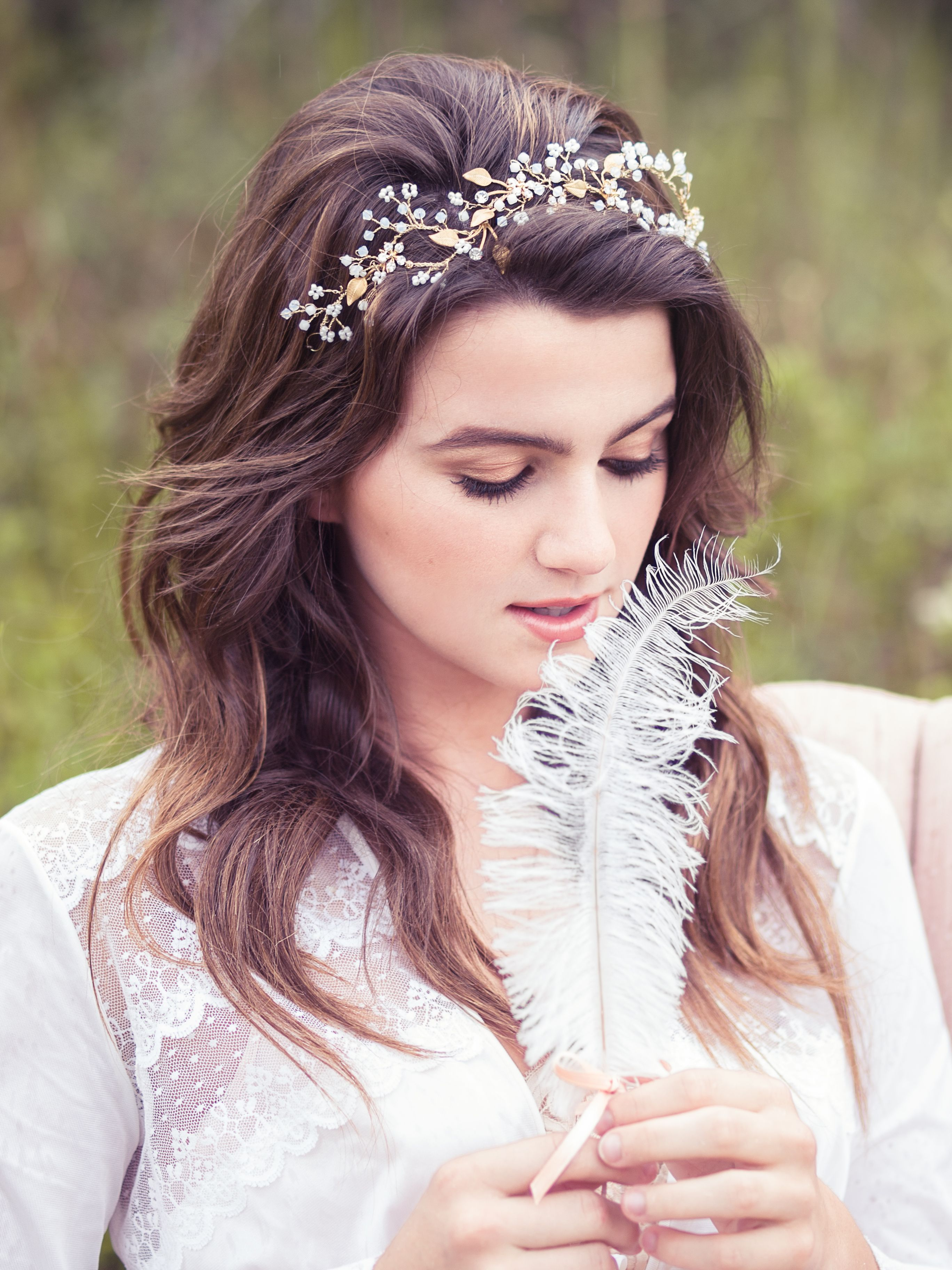 bridal hair vine, wedding crystal headband, beaded head