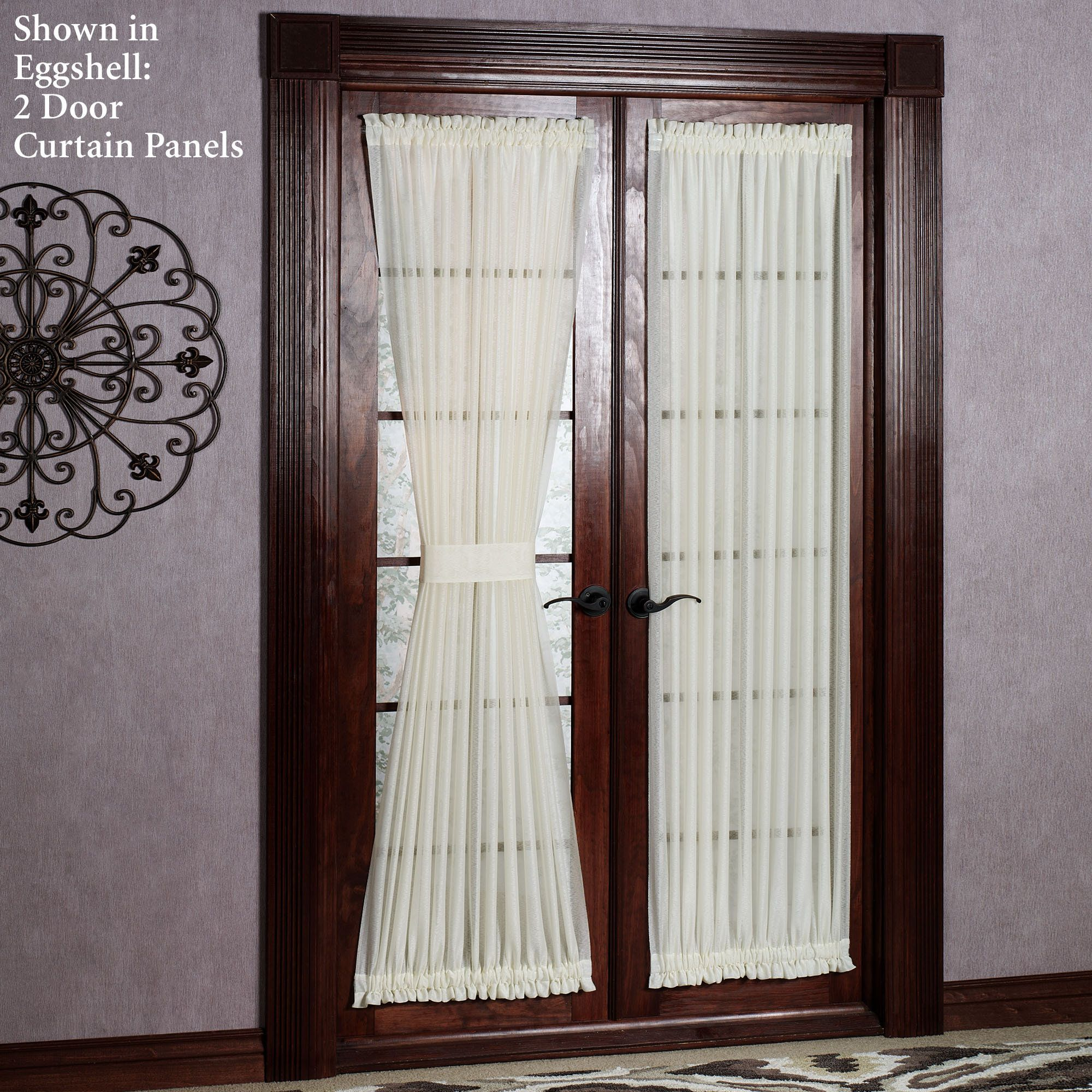 Interior White Sheer Curtain With Tie Back On Dark Varnished Teak Wood Patio Door Curtains For