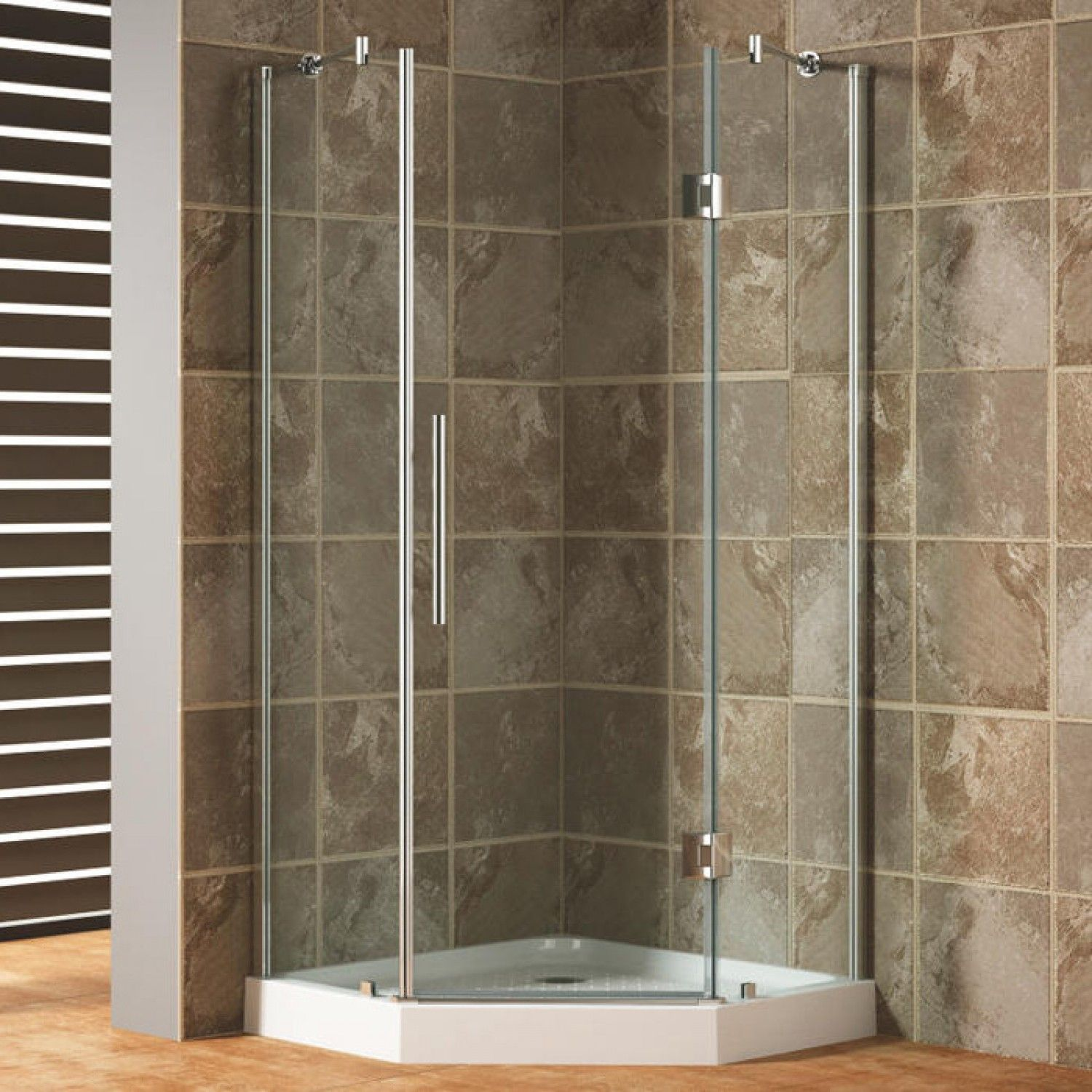 42 X 42 Frameless Neo Angle Shower Enclosure Without Tray
