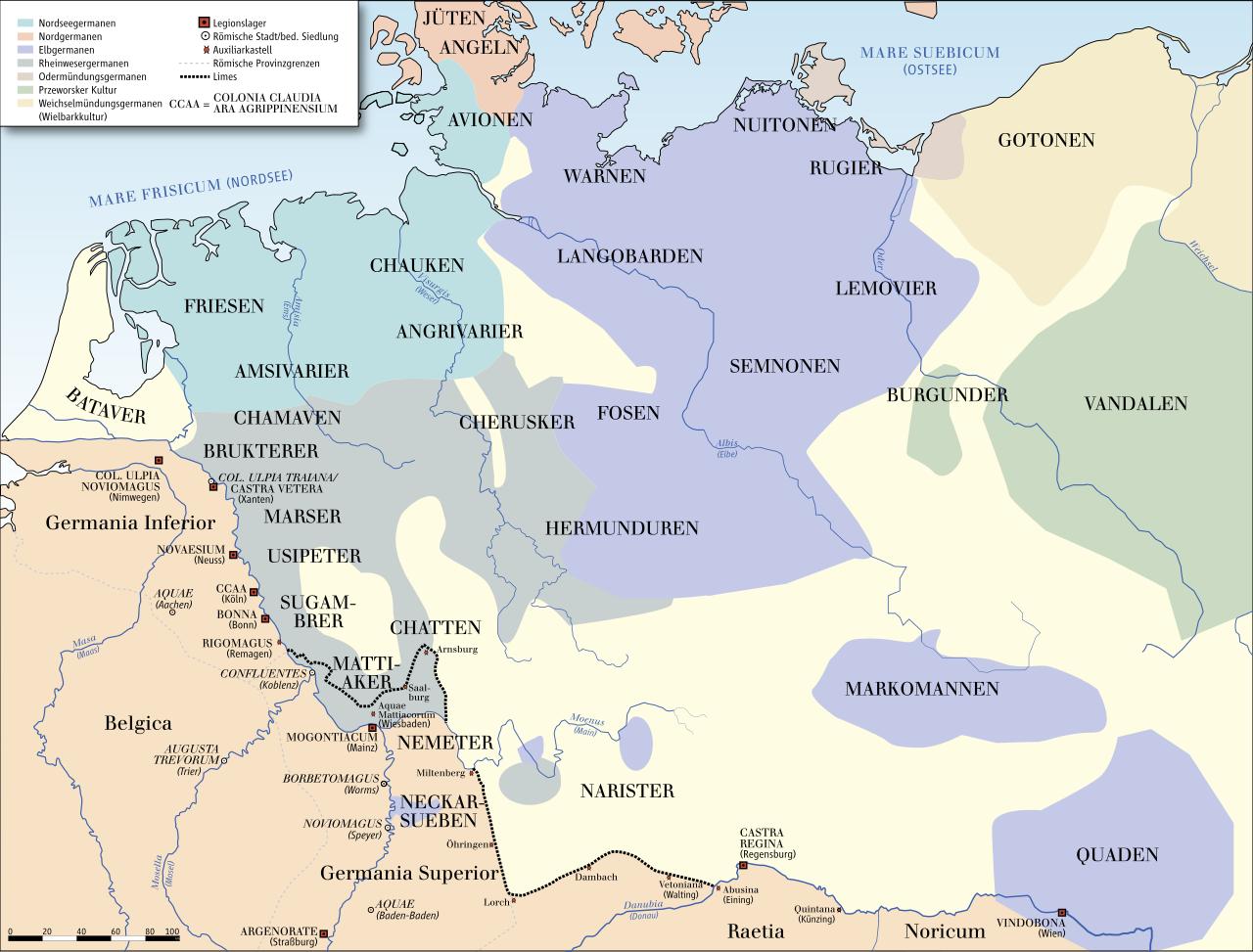 Germanische Stämme Karte.Karte Der Germanischen Stämme Um 50 N Chr Ohne Skandinavien