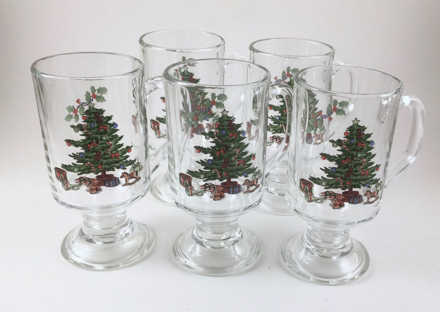 Glass Christmas Mugs, Christmas Trees and Holly, Footed Glasses for ...