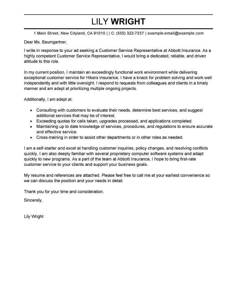 26 Effective Cover Letter Samples Customer Service Cover Letter