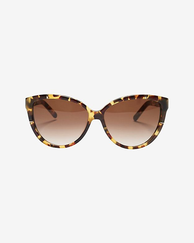 9a70d9027b Chloe Caspia Oversized Cat Eye Sunglasses  Tortoise  Oversized cat-eye  shape plastic frame sunglasses with gold-tone accents at arms. Gradient  lenses.
