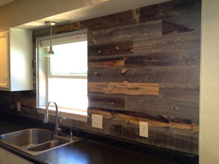 reclaimed wood backsplash and painted cabinets. I will do this! - Reclaimed Wood Backsplash And Painted Cabinets. I Will Do This