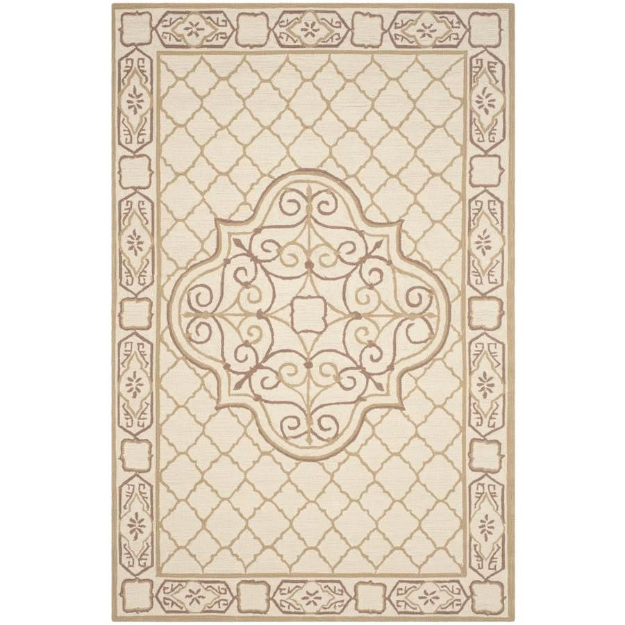 Safavieh Easy Care Ordu Ivory/Gold Rectangular Indoor Handcrafted Area Rug (Common: 6 X 9; Actual: 6-Ft W X 9-Ft L) Ezc7