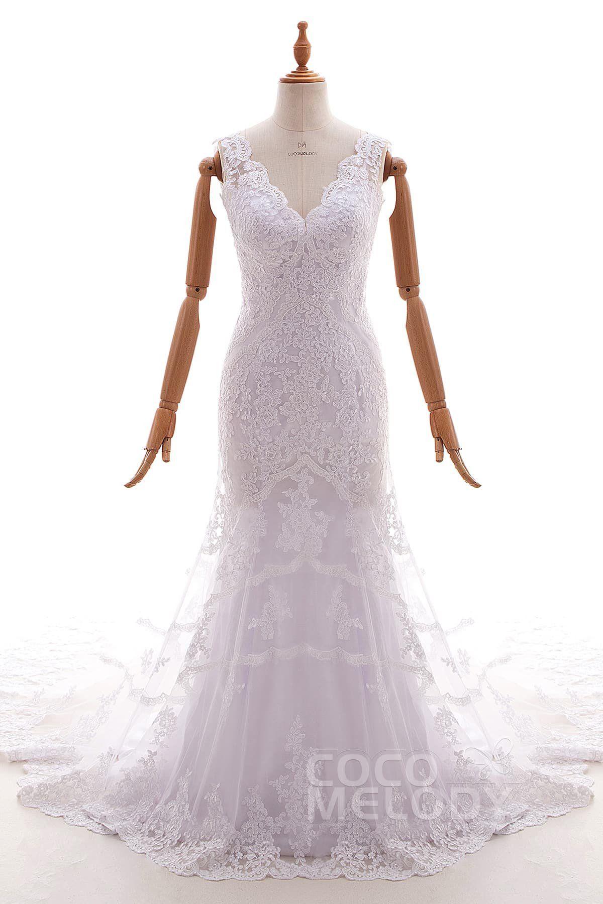 Mermaid dress wedding  TrumpetMermaid Chapel Train Tulle and Lace Wedding Dress LD