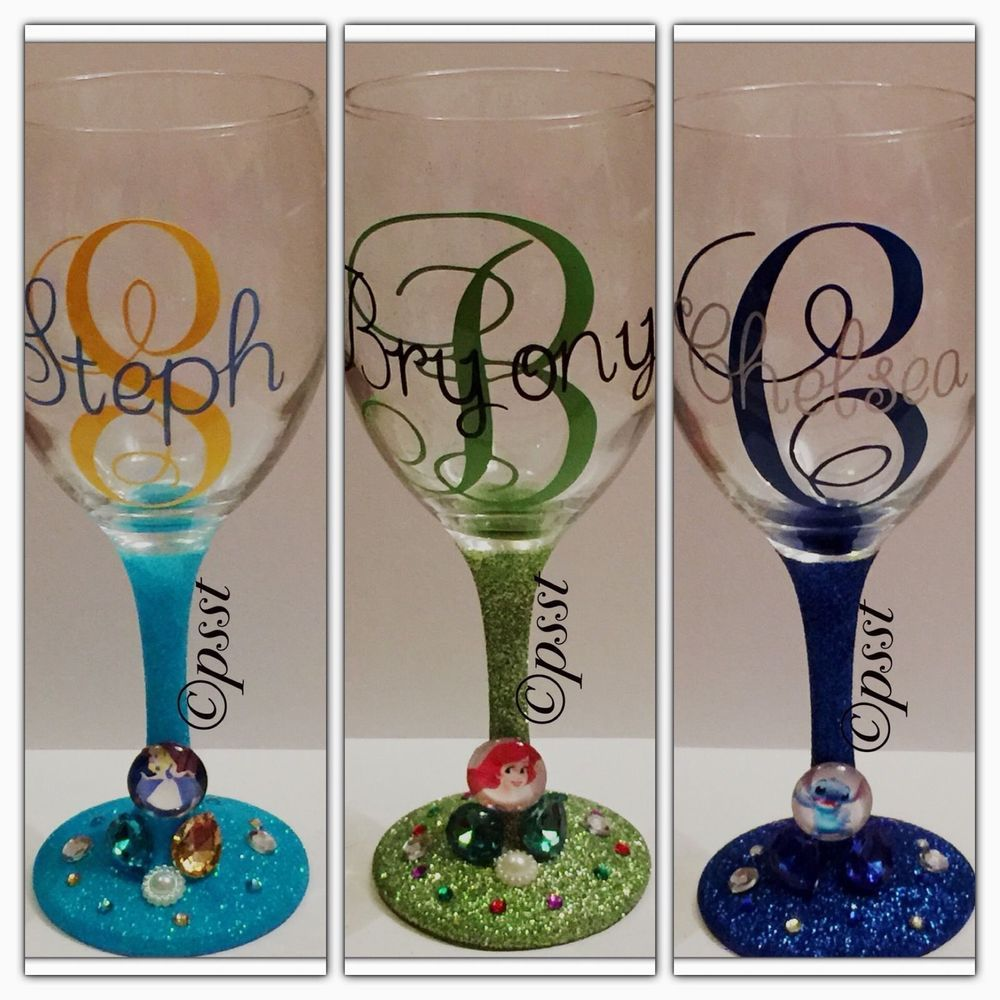Disney Other Character Themed Glitter Wine Glass Personalised With