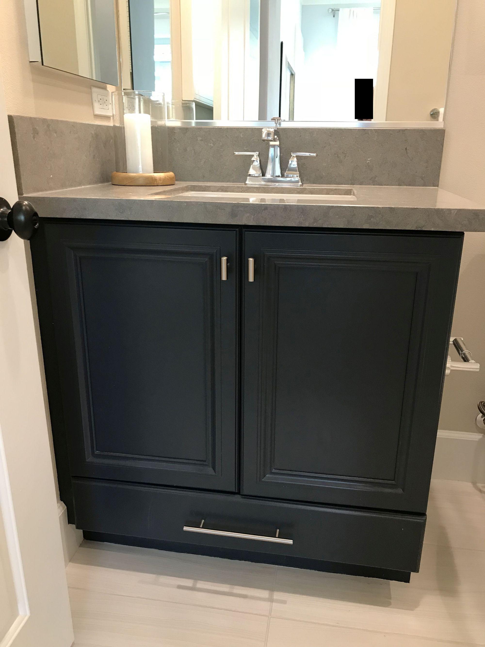Bathroom Remodel Ideas Navy Blue Cabinet Gray Quartz Countertop