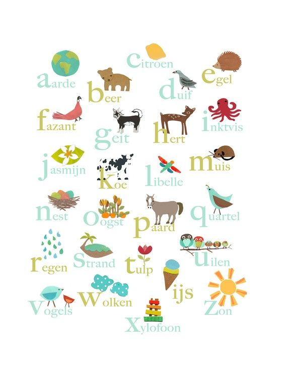 Dutch Alphabet Print 11x14 Nursery Wall Art, Nature Themed ...