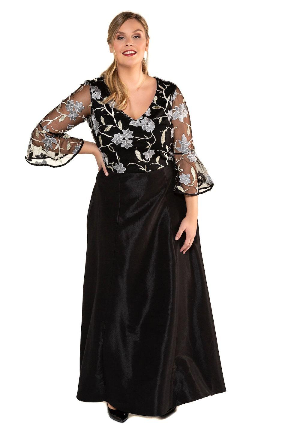 43ee8a03e5 Abendkleid, festlich und feminin. Lange Form mit Oberteil aus zarter  Blütenspitze, Body blickdicht