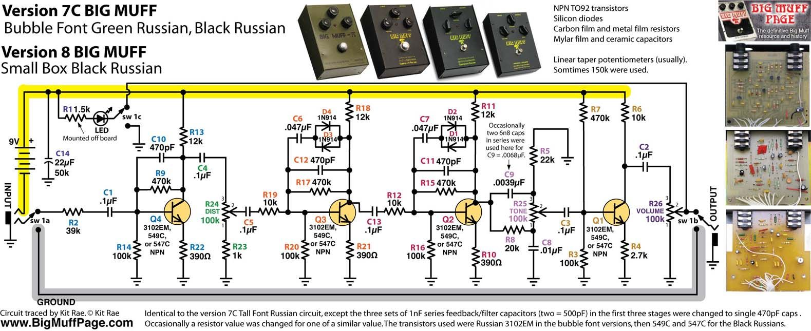 Bubble Font Black Russian Big Muff Schematic Guitar Pedal Amp The Circuit Design Of Mosfet Power Amplifier 5200w Rms