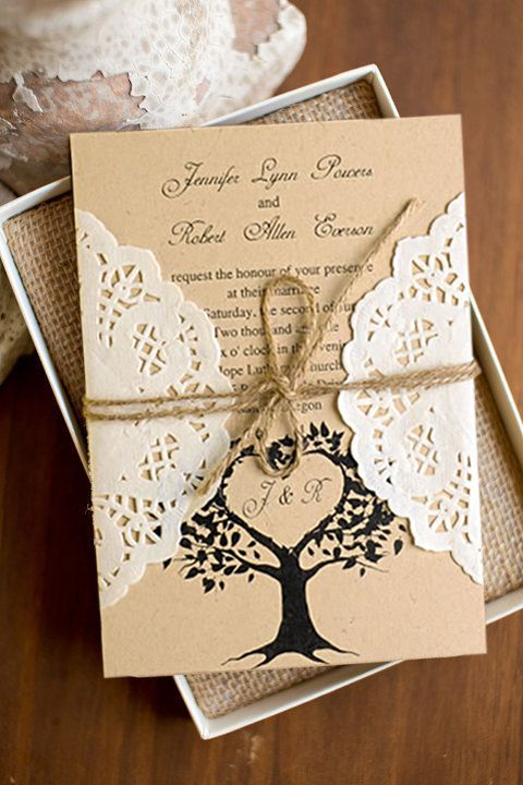 Love Tree Rustic Made In South Korea Lace Pocket Wedding Invites Ewls019 As Low As 2 19 Wedding Invitations Rustic Lace Country Style Wedding Invitations Wedding Invitation Styles