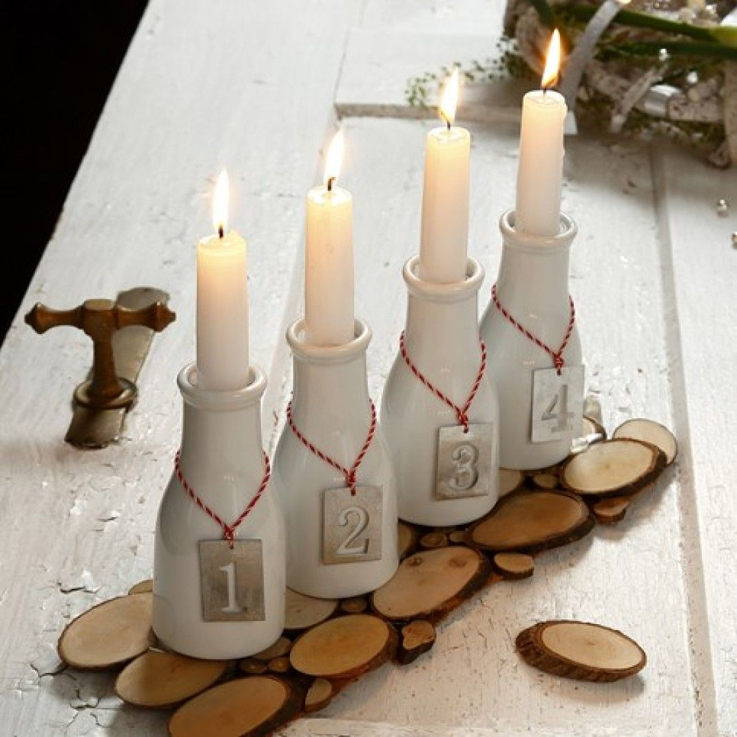 An Advent Candle Holder from Milk Bottles with numbered Zinc Tags | DIY  guide