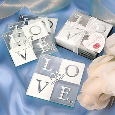 Glass Love Coasters Wedding Coasters Wedding Favors Unlimited