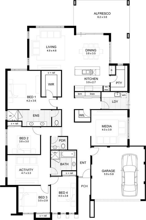 Traditional Style House Plan 6 Beds 3 5 Baths 2772 Sq Ft Plan 80 173 House Plans How To Plan Floor Plans