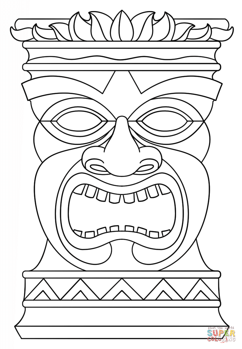 Hawaiian Tiki Masks Coloring Pages | tiki masks | Pinterest ...