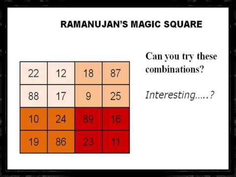 Ramanujan And His Magic Square Number 139 Created N Edited By Boddu Mahender Magic Square Is A Square With Numbers Which Has Same Magic Squares Magic Square