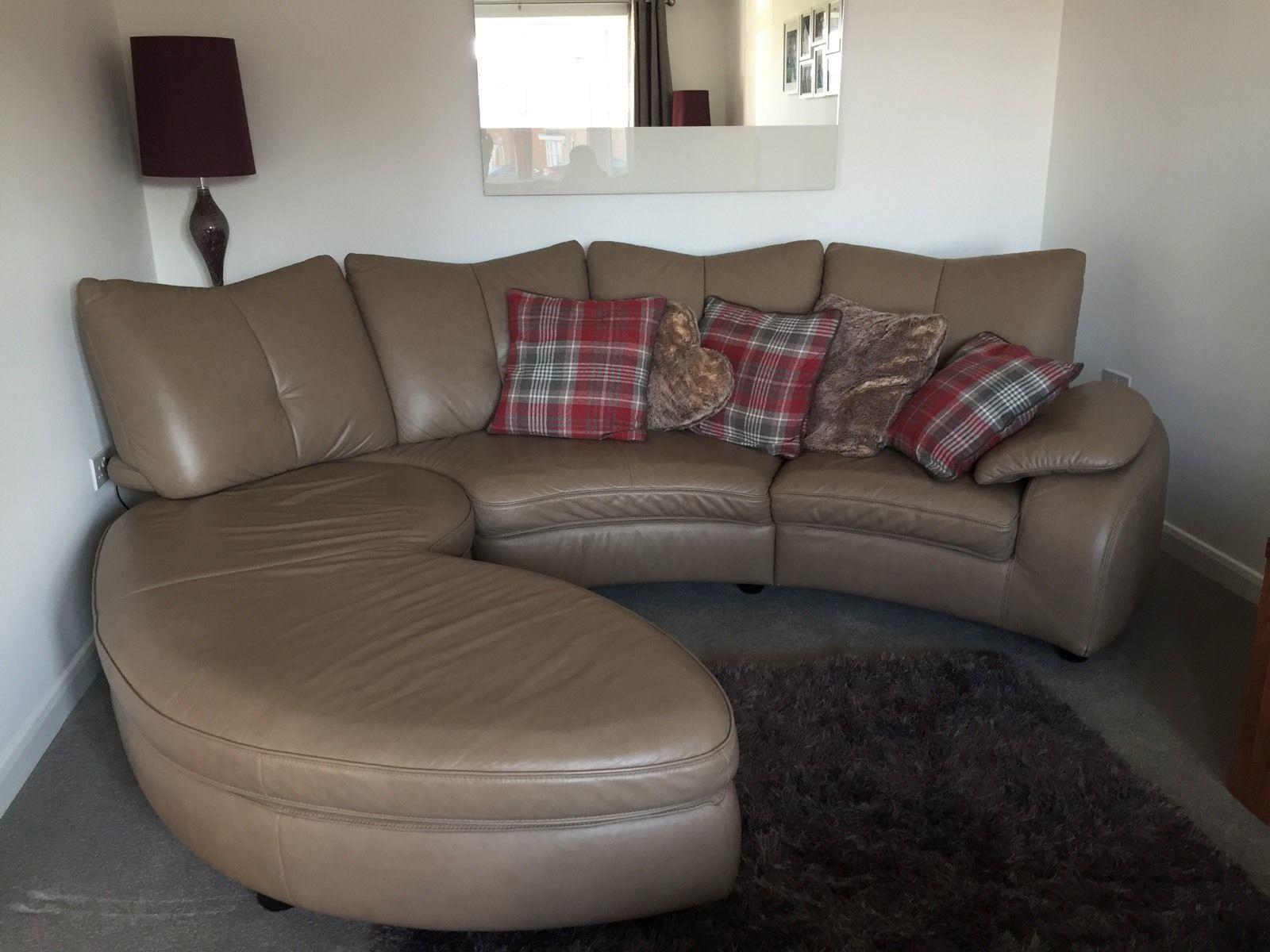 Large Stone Colour Leather Sofa | EBay