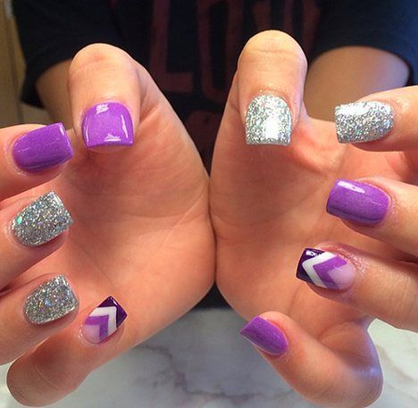 47 Summer Nail Designs For Short Nails Purple And Silver Nails Purple Nails Chevron Nails