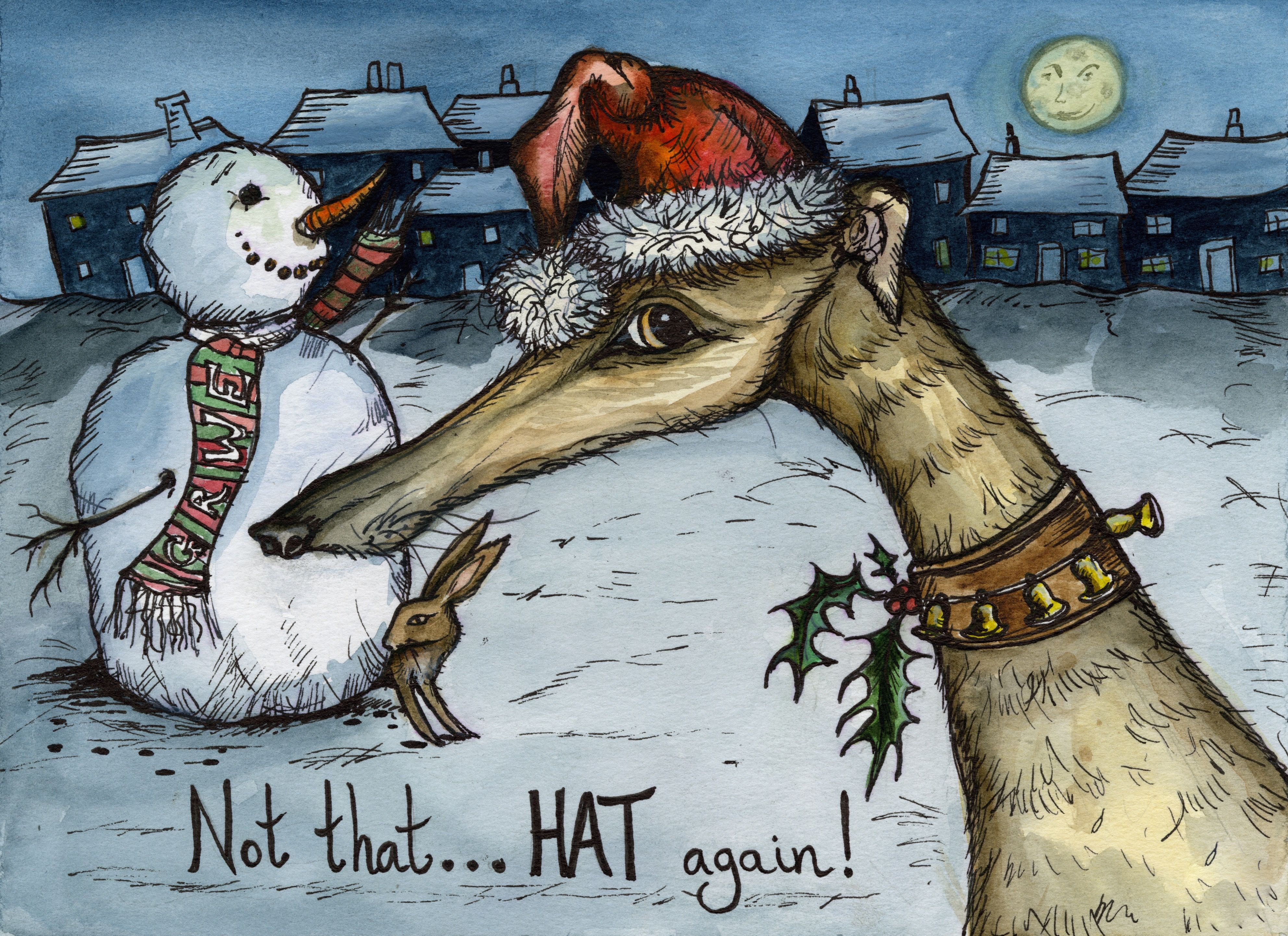 Fine Art Greeting Card Not That Hat Again Pen And Ink By Elle J