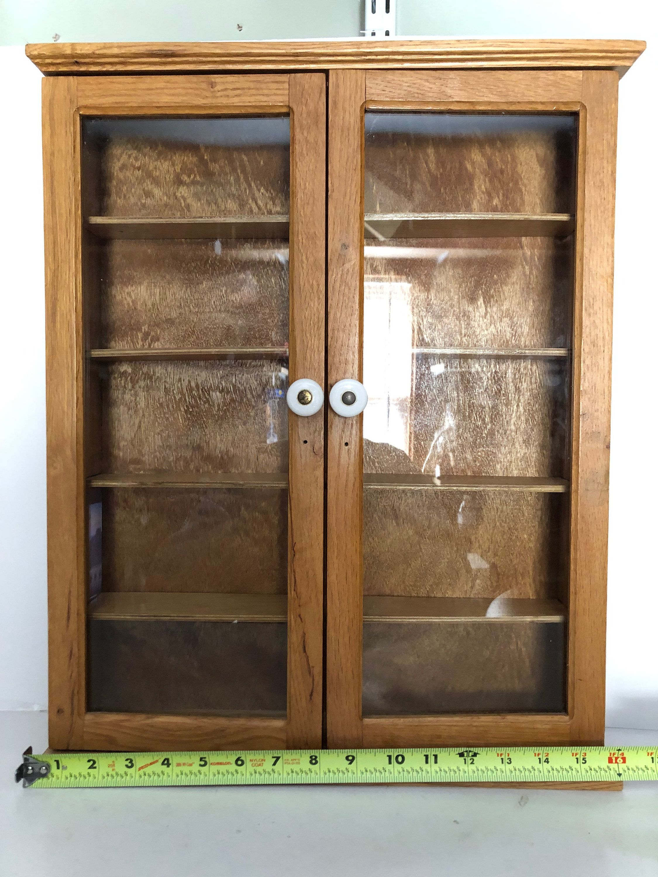 Curio Cabinet Oak Wood Glass Doors Shelves Display Cabinet