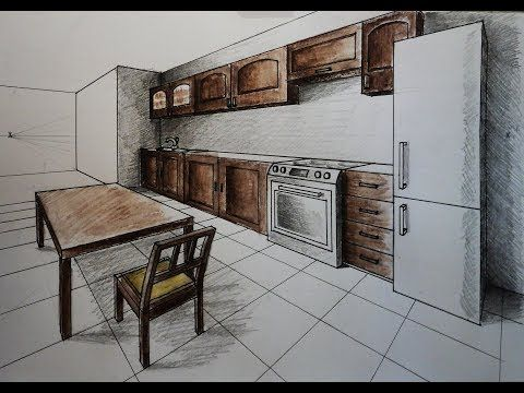 How To Draw One Point Perspective Kitchen With Furniture Desk