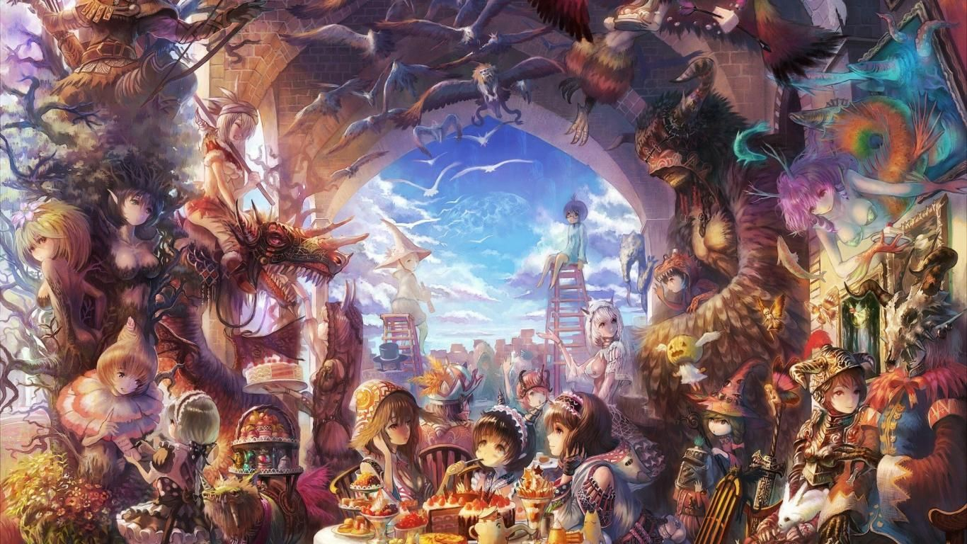 Wallpapers Fairytale Fairy Tale Anime Painting Up Net 1366x768 Anime Scenery Anime Wallpaper Art