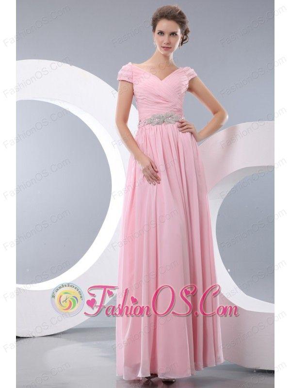 391f4df1d607 Elegant Baby Pink Empire V-neck Beading Bridesmaid Dress Floor-length  Chiffon-  137.97