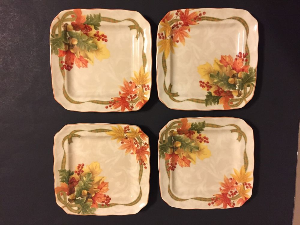 222 FIFTH Autumn Celebration Fine China Appetizer Plates 6.25 ...